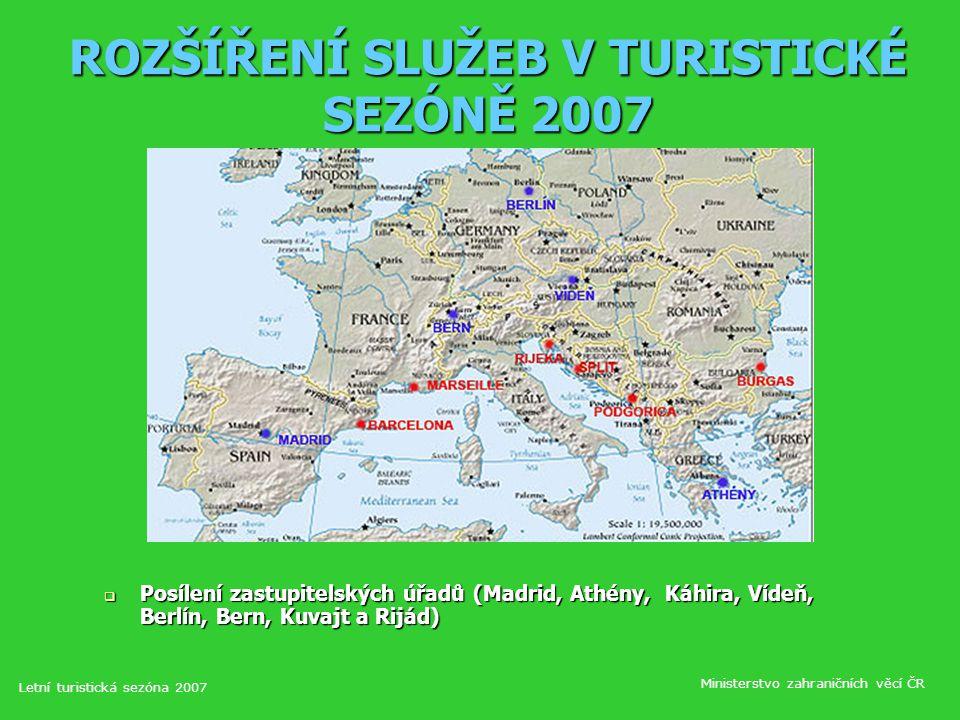 ROZŠÍŘENÍ SLUŽEB V TURISTICKÉ SEZÓNĚ 2007  Posílení zastupitelských úřadů (Madrid, Athény, Káhira, Vídeň, Berlín, Bern, Kuvajt a Rijád) Letní turistická sezóna 2007 Ministerstvo zahraničních věcí ČR