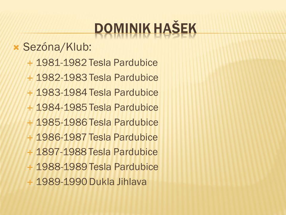  Sezóna/Klub:  1981-1982 Tesla Pardubice  1982-1983 Tesla Pardubice  1983-1984 Tesla Pardubice  1984-1985 Tesla Pardubice  1985-1986 Tesla Pardu