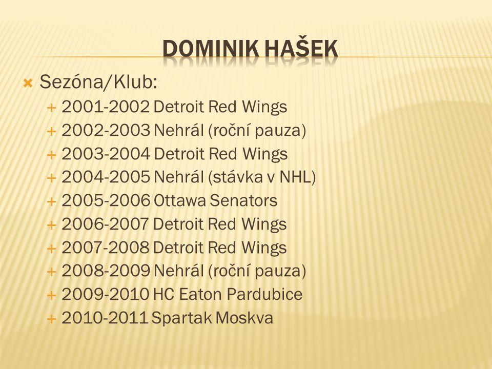  Sezóna/Klub:  2001-2002 Detroit Red Wings  2002-2003 Nehrál (roční pauza)  2003-2004 Detroit Red Wings  2004-2005 Nehrál (stávka v NHL)  2005-2
