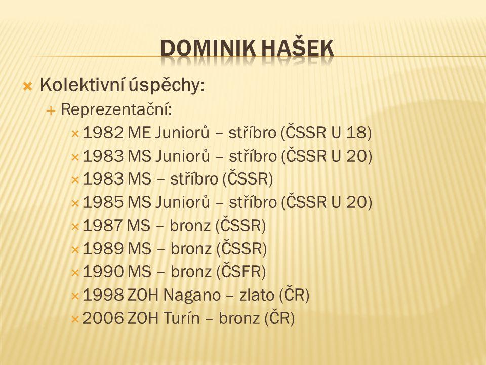  Kolektivní úspěchy :  Reprezentační:  1982 ME Juniorů – stříbro (ČSSR U 18)  1983 MS Juniorů – stříbro (ČSSR U 20)  1983 MS – stříbro (ČSSR)  1