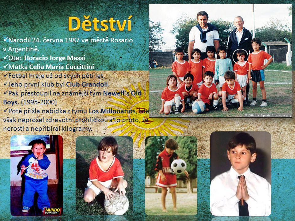 Narodil 24. června 1987 ve městě Rosario v Argentině. Otec Horacio Jorge Messi Matka Celia María Cuccittini Fotbal hraje už od svých pěti let. Jeho pr