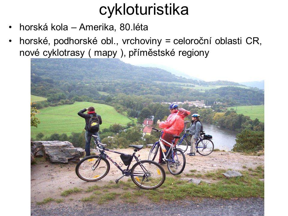 cykloturistika horská kola – Amerika, 80.léta horské, podhorské obl., vrchoviny = celoroční oblasti CR, nové cyklotrasy ( mapy ), příměstské regiony