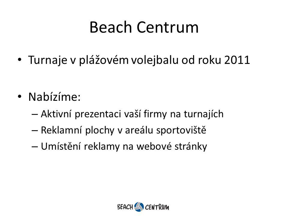 Beach Centrum Turnaje v plážovém volejbalu od roku 2011 Nabízíme: – Aktivní prezentaci vaší firmy na turnajích – Reklamní plochy v areálu sportoviště – Umístění reklamy na webové stránky
