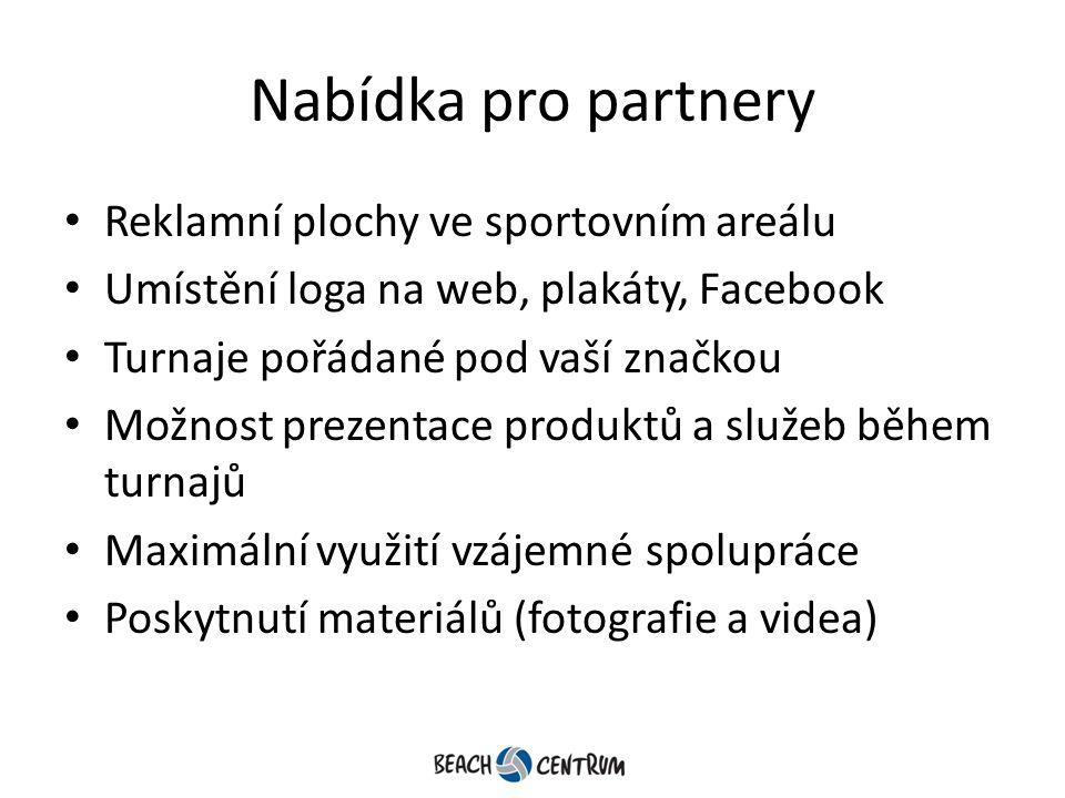 Nabídka pro partnery Reklamní plochy ve sportovním areálu Umístění loga na web, plakáty, Facebook Turnaje pořádané pod vaší značkou Možnost prezentace