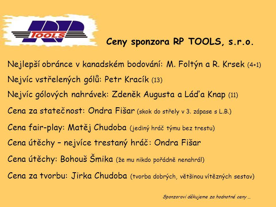 Ceny sponzora RP TOOLS, s.r.o. Nejlepší obránce v kanadském bodování: M. Foltýn a R. Krsek (4+1) Nejvíc vstřelených gólů: Petr Kracík (13) Nejvíc gólo