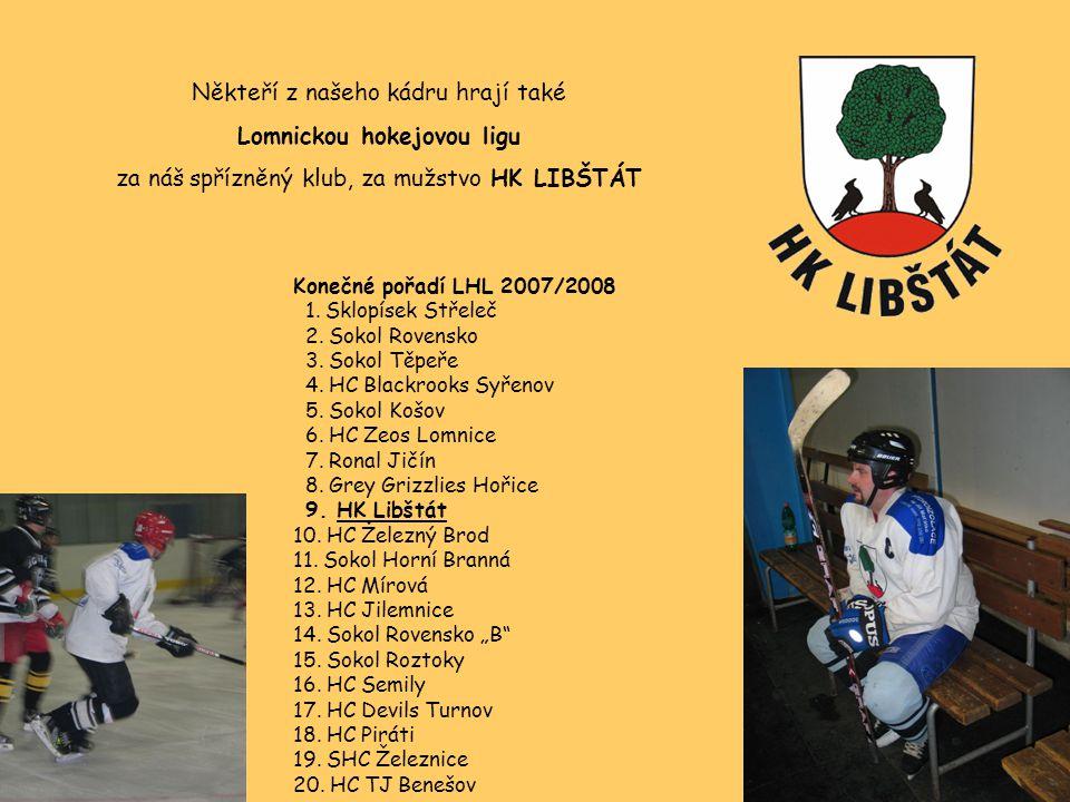 Někteří z našeho kádru hrají také Lomnickou hokejovou ligu za náš spřízněný klub, za mužstvo HK LIBŠTÁT Konečné pořadí LHL 2007/2008 1. Sklopísek Stře