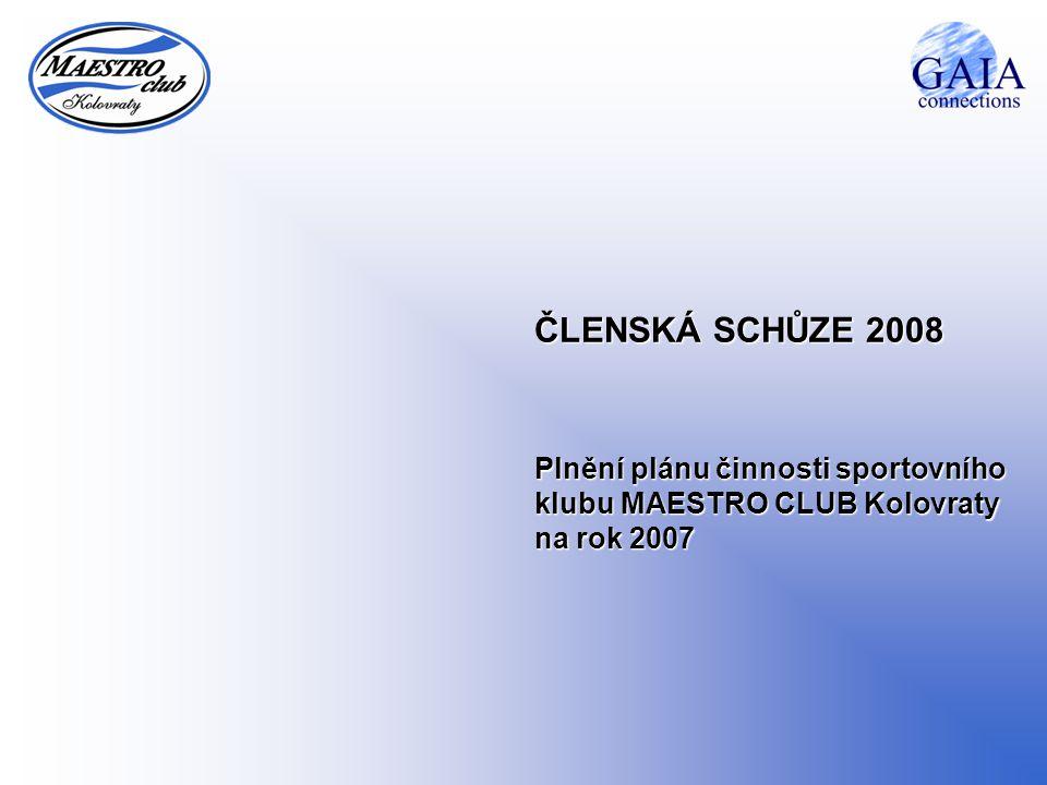 ČLENSKÁ SCHŮZE 2008 Plnění plánu činnosti sportovního klubu MAESTRO CLUB Kolovraty na rok 2007