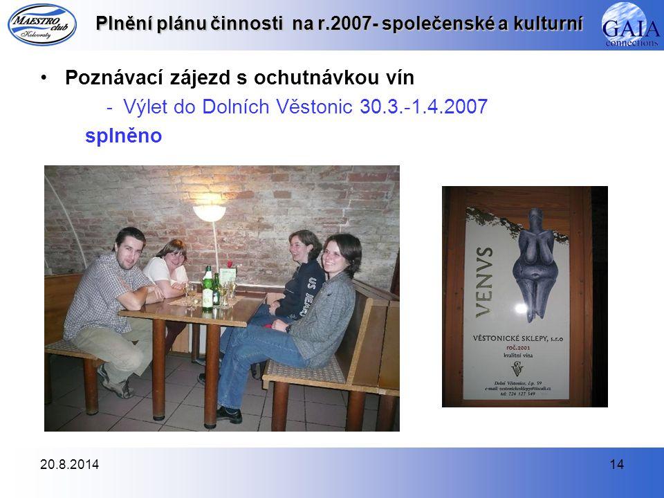 20.8.201414 Plnění plánu činnosti na r.2007- společenské a kulturní Poznávací zájezd s ochutnávkou vín - Výlet do Dolních Věstonic 30.3.-1.4.2007 splněno