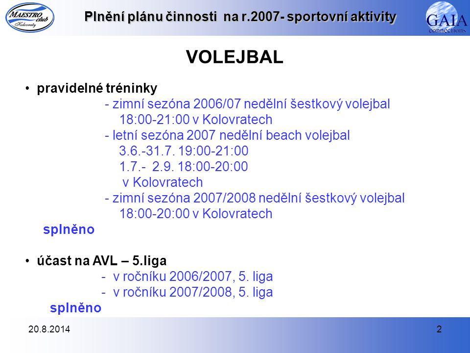 20.8.20142 Plnění plánu činnosti na r.2007- sportovní aktivity VOLEJBAL pravidelné tréninky - zimní sezóna 2006/07 nedělní šestkový volejbal 18:00-21:00 v Kolovratech - letní sezóna 2007 nedělní beach volejbal 3.6.-31.7.