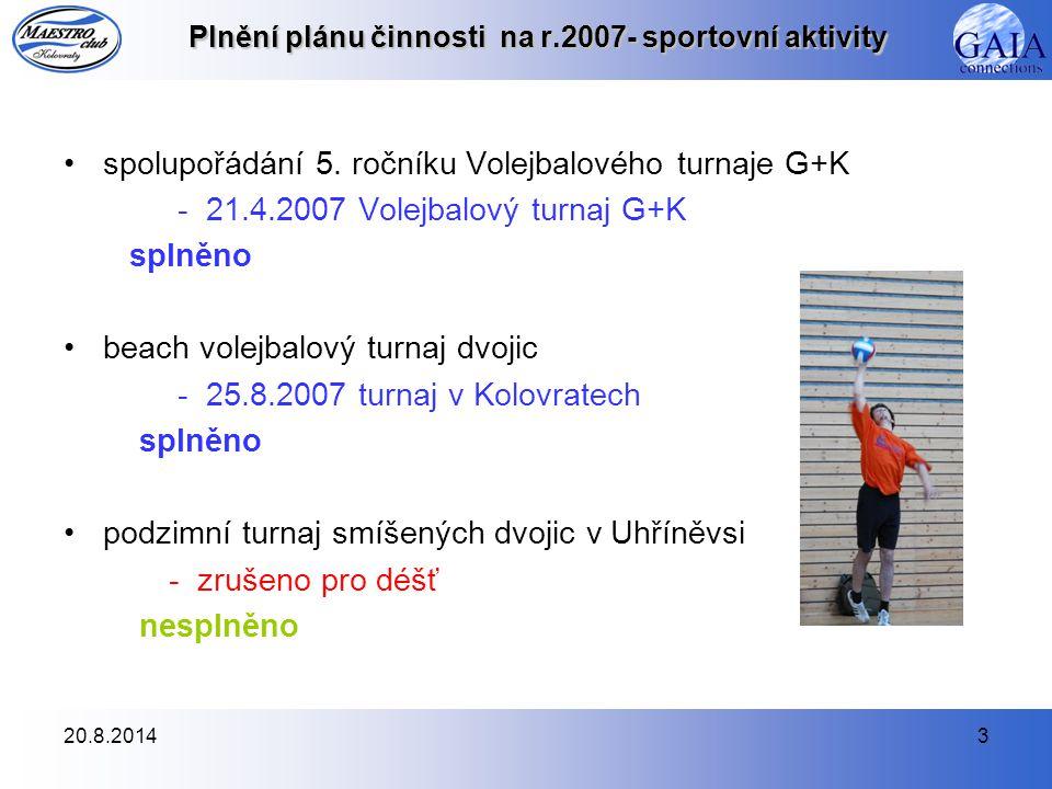 20.8.20144 Plnění plánu činnosti na r.2007- sportovní aktivity NOHEJBAL pravidelné tréninky - zimní sezóna 2006/2007 úterky 19:30-21:00 v Kolovratech - zimní sezóna 2006/2007 pátky 21:00-22:30 v Kolovratech - letní sezóna 2007 úterky 18:00-20:00 (19:00-21:00) v areálu na Parkáně - letní sezóna 2007 pátky 18:30-20:00 v areálu na Parkáně - zimní sezóna 2007/2008 úterky 19:30-21:00 v Kolovratech - zimní sezóna 2007/2008 pátky 21:00-22:30 v Kolovratech splněno