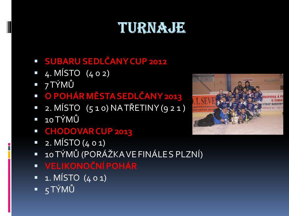 TURNAJE  SUBARU SEDLČANY CUP 2012  4. MÍSTO (4 0 2)  7 TÝMŮ  O POHÁR MĚSTA SEDLČANY 2013  2.