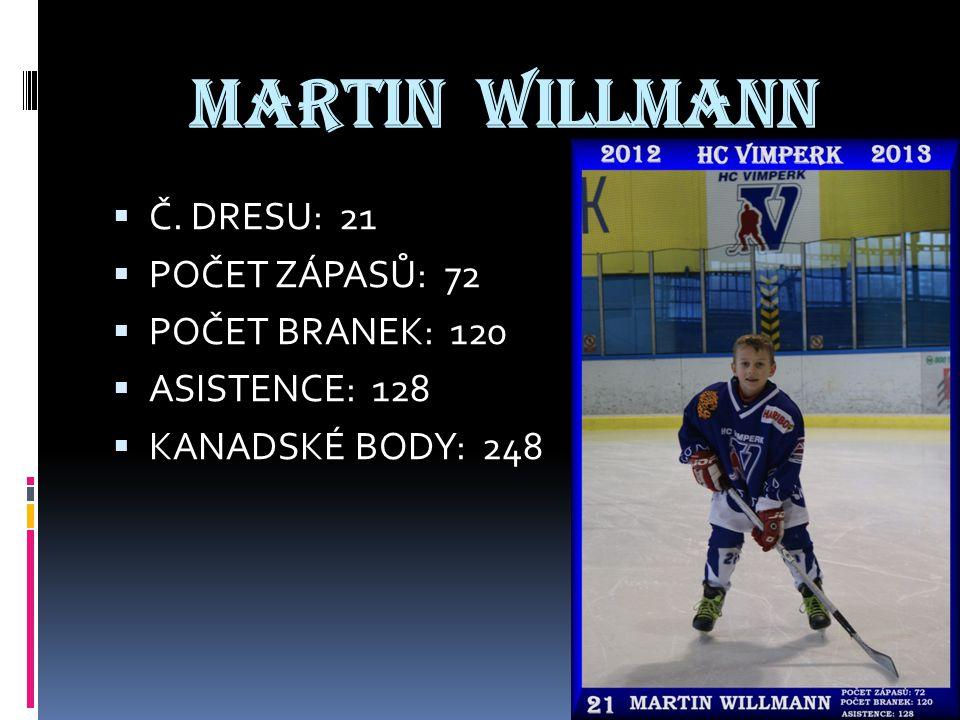 MARTIN WILLMANN  Č. DRESU: 21  POČET ZÁPASŮ: 72  POČET BRANEK: 120  ASISTENCE: 128  KANADSKÉ BODY: 248