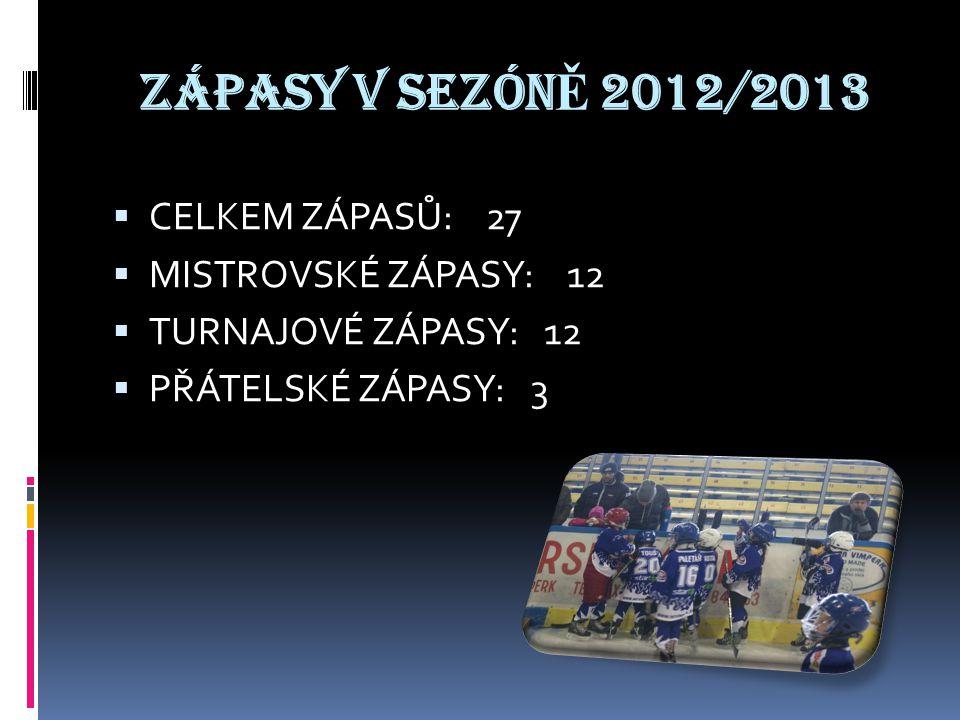 ZÁPASY V SEZÓN Ě 2012/2013 CCELKEM ZÁPASŮ: 27 MMISTROVSKÉ ZÁPASY: 12 TTURNAJOVÉ ZÁPASY: 12 PPŘÁTELSKÉ ZÁPASY: 3
