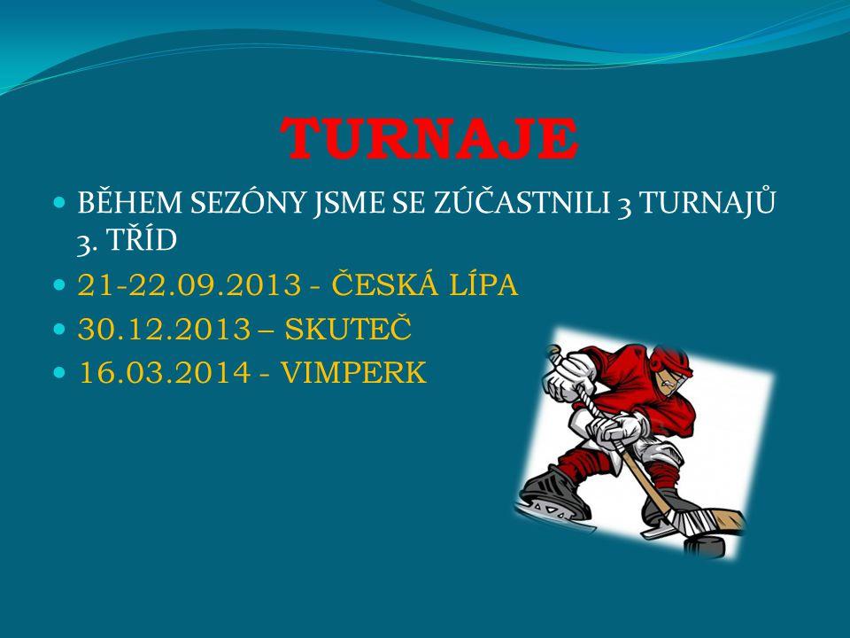 TURNAJE BĚHEM SEZÓNY JSME SE ZÚČASTNILI 3 TURNAJŮ 3. TŘÍD 21-22.09.2013 - ČESKÁ LÍPA 30.12.2013 – SKUTEČ 16.03.2014 - VIMPERK