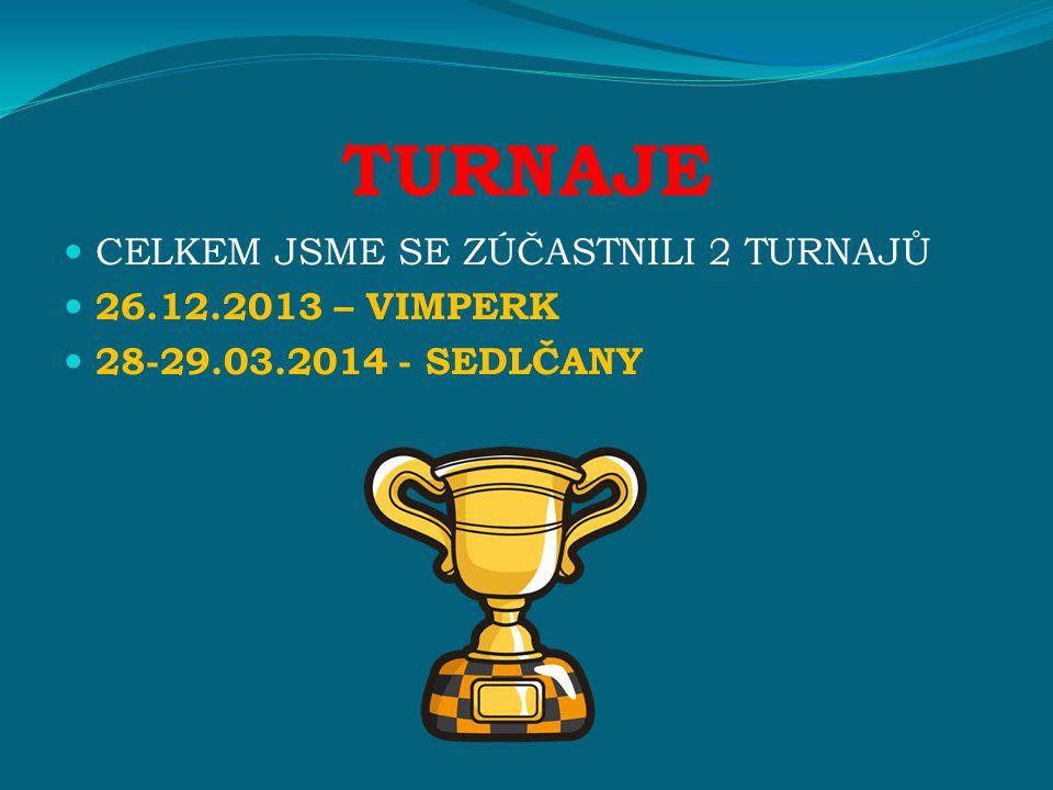 TURNAJE CELKEM JSME SE ZÚČASTNILI 2 TURNAJŮ 26.12.2013 – VIMPERK 28-29.03.2014 - SEDLČANY
