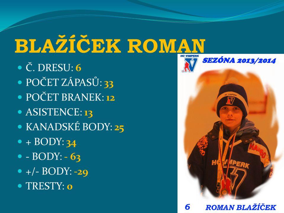 BLAŽÍČEK ROMAN Č. DRESU: 6 POČET ZÁPASŮ: 33 POČET BRANEK: 12 ASISTENCE: 13 KANADSKÉ BODY: 25 + BODY: 34 - BODY: - 63 +/- BODY: -29 TRESTY: 0