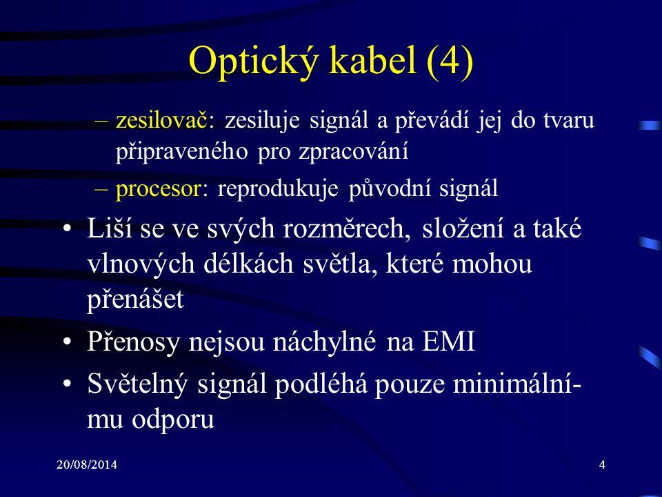 20/08/20145 Optický kabel (5) Optický kabel se skládá z následujících částí: –jádro: složeno z jednoho nebo více skleněných popř.