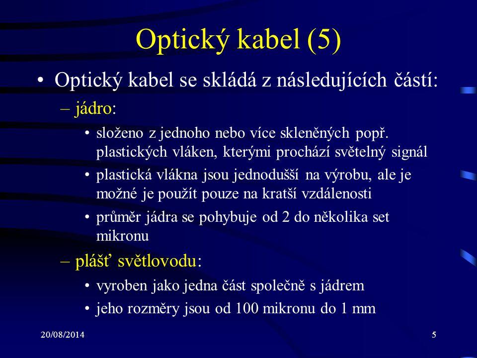20/08/201416 Optický kabel (16) Útlumová charakteristika optického kabelu: