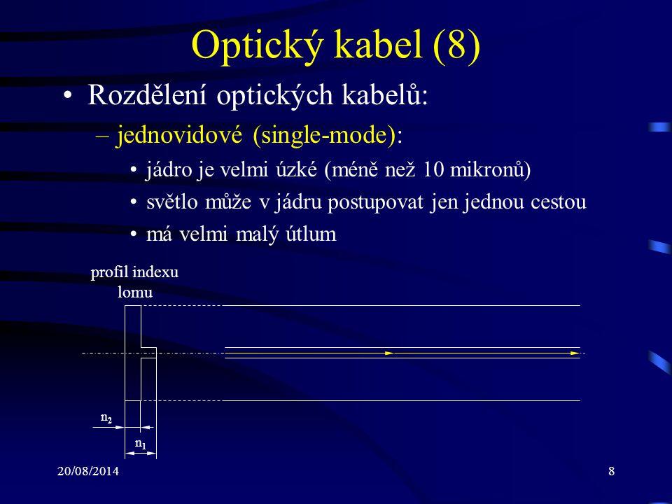 20/08/20149 Optický kabel (9) –multividové (multi-mode): mají tlustší jádro světelný paprsek má více prostoru a může probíhat v jádru více cestami více módů (světelných průběhů) v přenosu může vést k rušení signálu na straně přijímače jako veličina zkreslení se používá modální disperze, která se udává v ns/km a představuje rozdíl mezi nejrychlejším a nejpomalejším světelným průběhem vyrábějí se dva typy: –step index –graded index