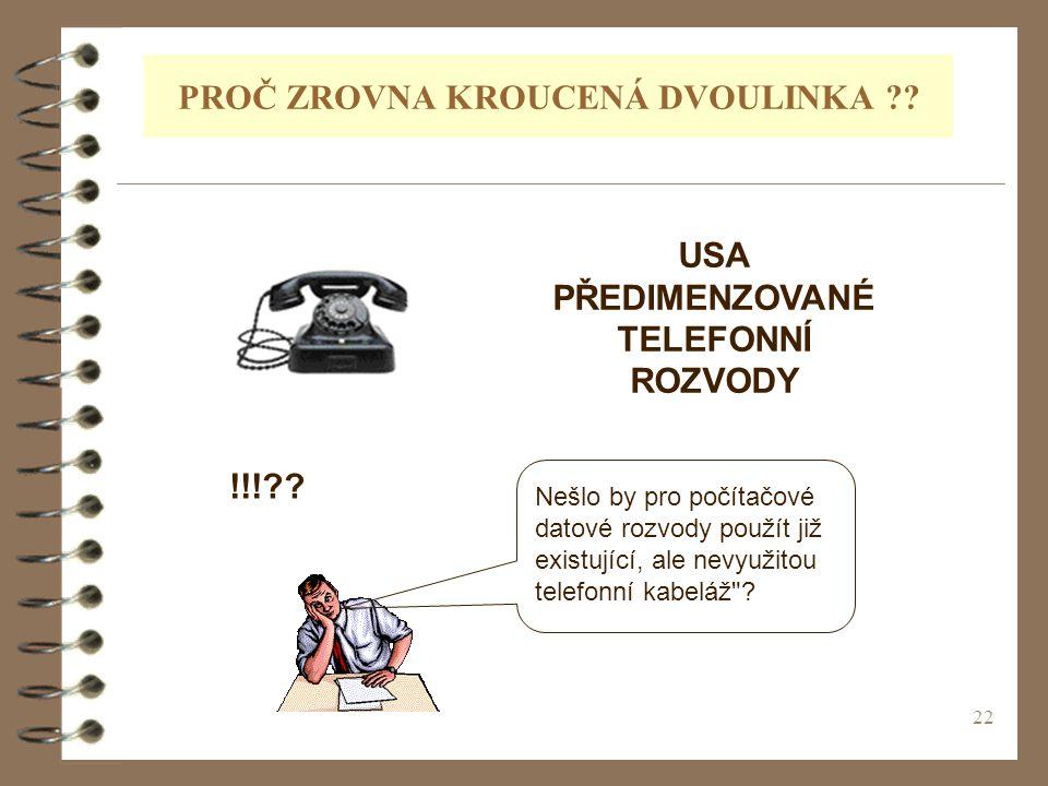 22 PROČ ZROVNA KROUCENÁ DVOULINKA ?? USA PŘEDIMENZOVANÉ TELEFONNÍ ROZVODY Nešlo by pro počítačové datové rozvody použít již existující, ale nevyužitou