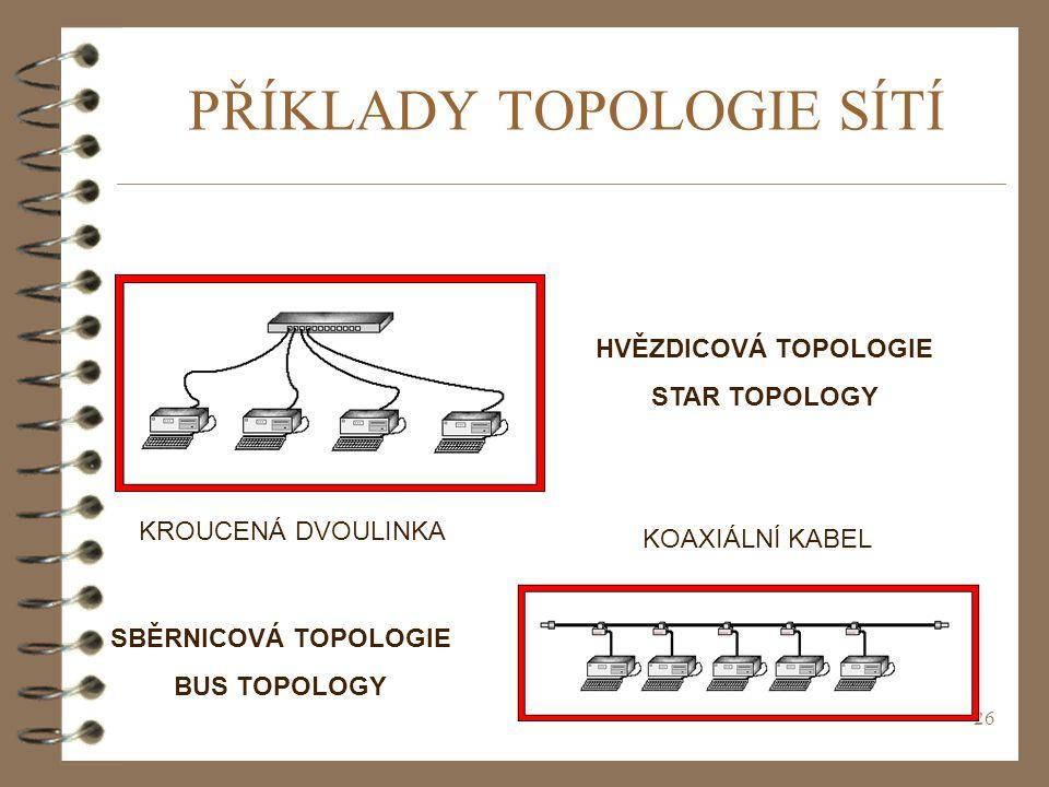 26 PŘÍKLADY TOPOLOGIE SÍTÍ HVĚZDICOVÁ TOPOLOGIE STAR TOPOLOGY SBĚRNICOVÁ TOPOLOGIE BUS TOPOLOGY KOAXIÁLNÍ KABEL KROUCENÁ DVOULINKA