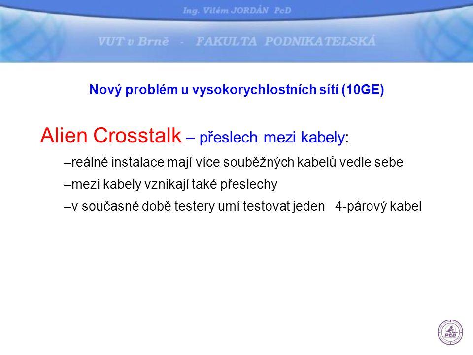 Nový problém u vysokorychlostních sítí (10GE) Alien Crosstalk – přeslech mezi kabely: –reálné instalace mají více souběžných kabelů vedle sebe –mezi kabely vznikají také přeslechy –v současné době testery umí testovat jeden 4-párový kabel