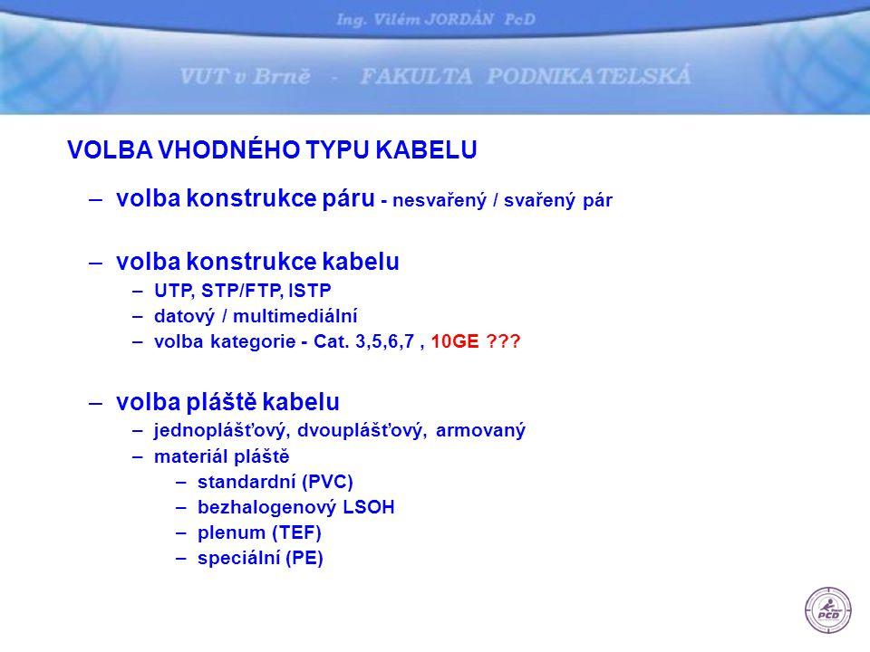 VOLBA VHODNÉHO TYPU KABELU –volba konstrukce páru - nesvařený / svařený pár –volba konstrukce kabelu –UTP, STP/FTP, ISTP –datový / multimediální –volb