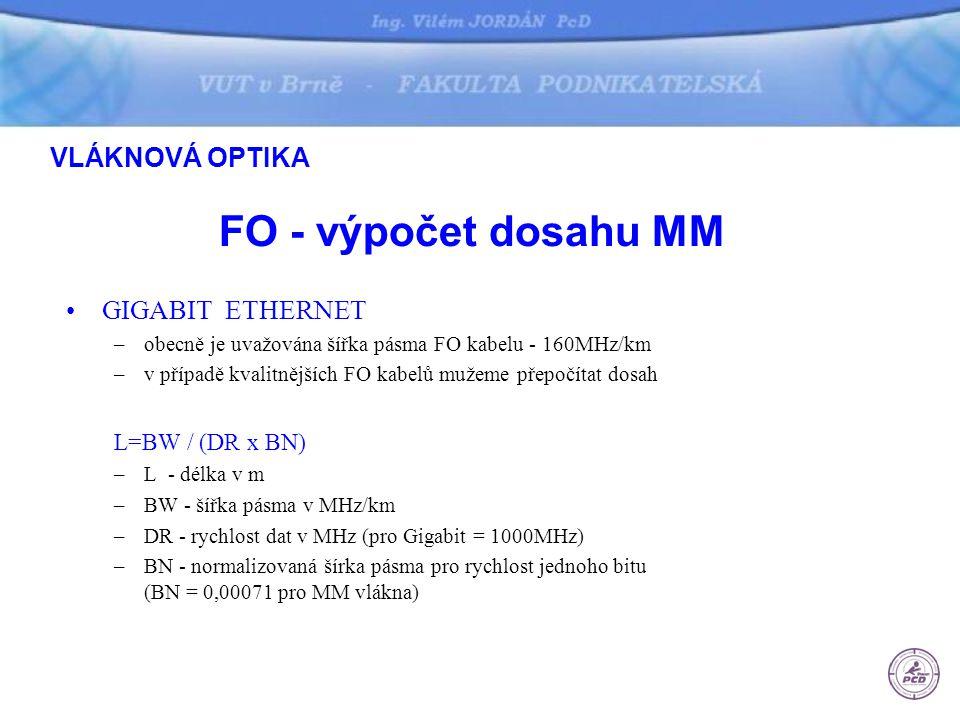 FO - výpočet dosahu MM GIGABIT ETHERNET –obecně je uvažována šířka pásma FO kabelu - 160MHz/km –v případě kvalitnějších FO kabelů mužeme přepočítat do
