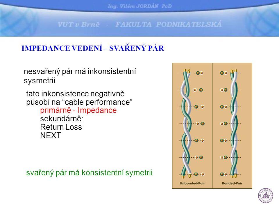 """IMPEDANCE VEDENÍ – SVAŘENÝ PÁR svařený pár má konsistentní symetrii nesvařený pár má inkonsistentní sysmetrii tato inkonsistence negativně působí na """""""