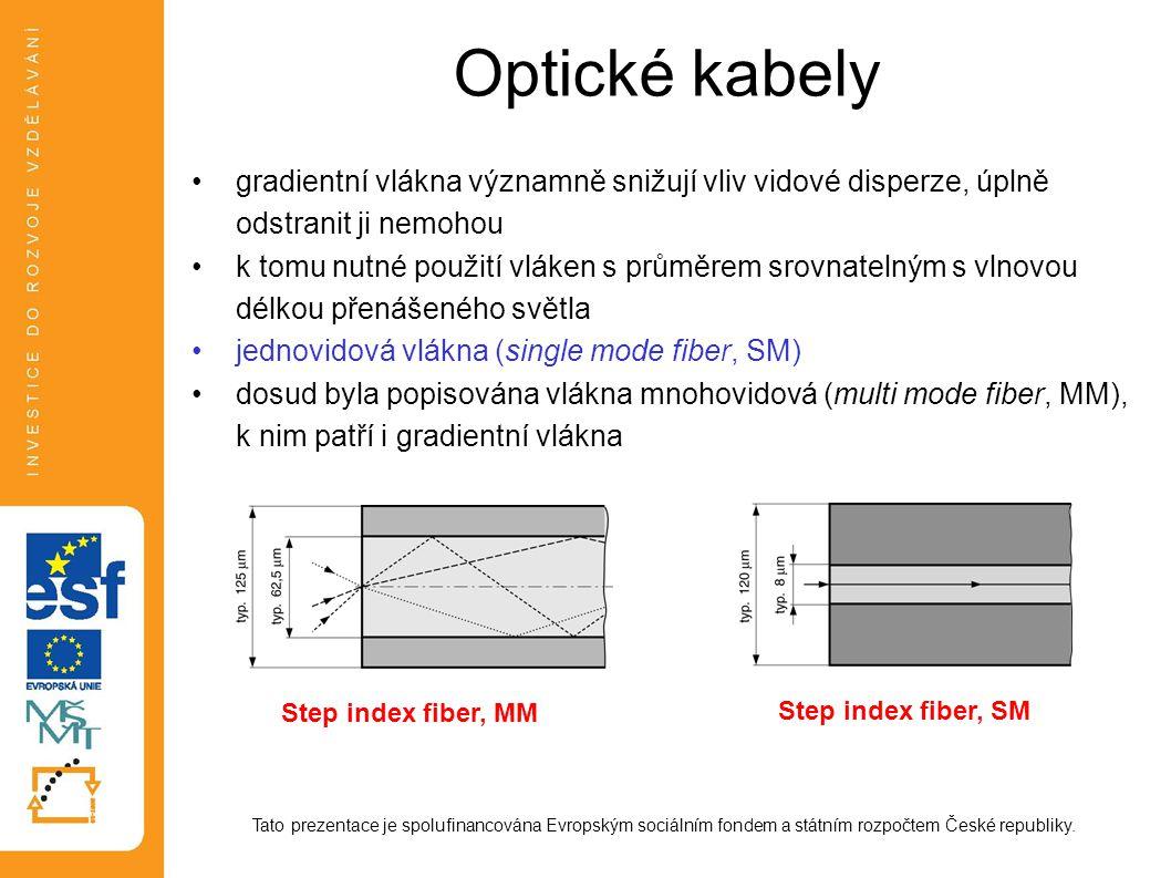 Optické kabely gradientní vlákna významně snižují vliv vidové disperze, úplně odstranit ji nemohou k tomu nutné použití vláken s průměrem srovnatelným