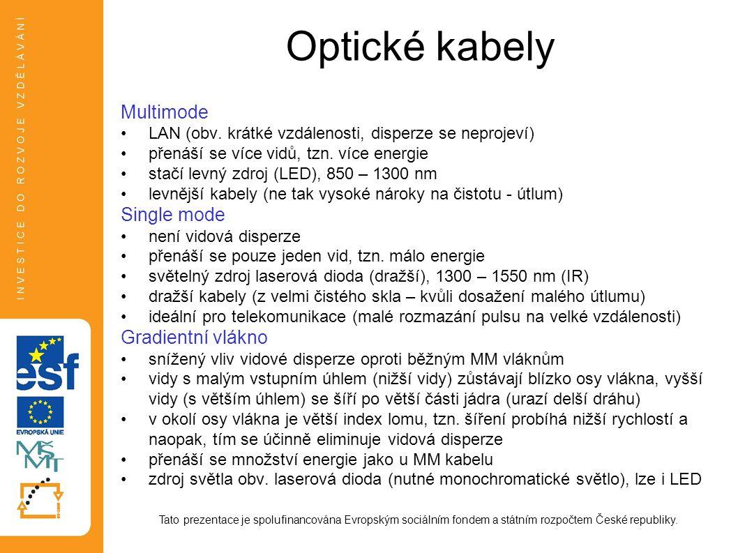 Optické kabely Multimode: LAN (obv. krátké vzdálenosti, disperze se neprojeví) přenáší se více vidů, tzn. více energie stačí levný zdroj (LED), 850 –