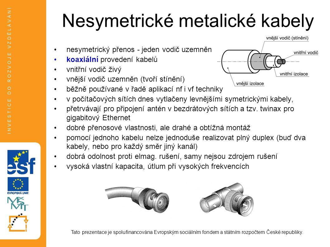 Nesymetrické metalické kabely nesymetrický přenos - jeden vodič uzemněn koaxiální provedení kabelů vnitřní vodič živý vnější vodič uzemněn (tvoří stín