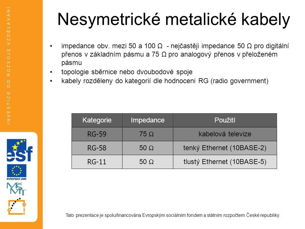 Nesymetrické metalické kabely impedance obv. mezi 50 a 100 Ω - nejčastěji impedance 50 Ω pro digitální přenos v základním pásmu a 75 Ω pro analogový p