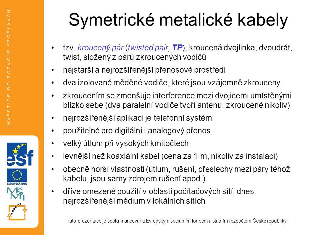 Symetrické metalické kabely nejčastěji v kabelu 4 páry (tzn.
