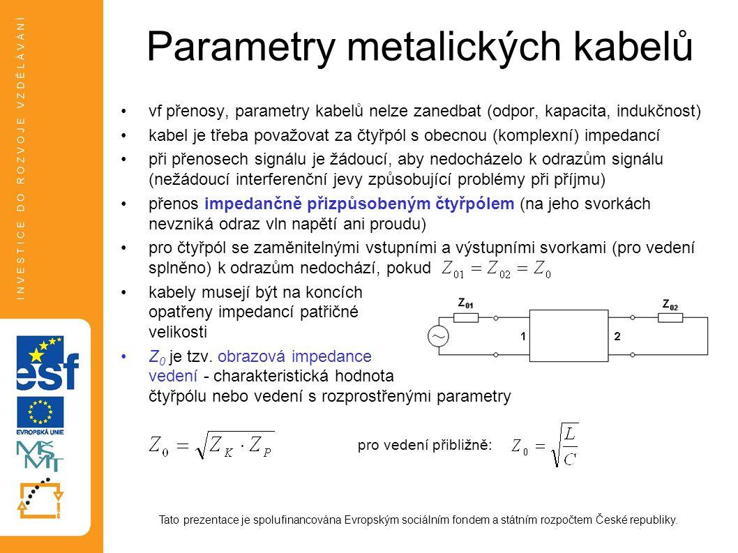Parametry metalických kabelů vf přenosy, parametry kabelů nelze zanedbat (odpor, kapacita, indukčnost) kabel je třeba považovat za čtyřpól s obecnou (