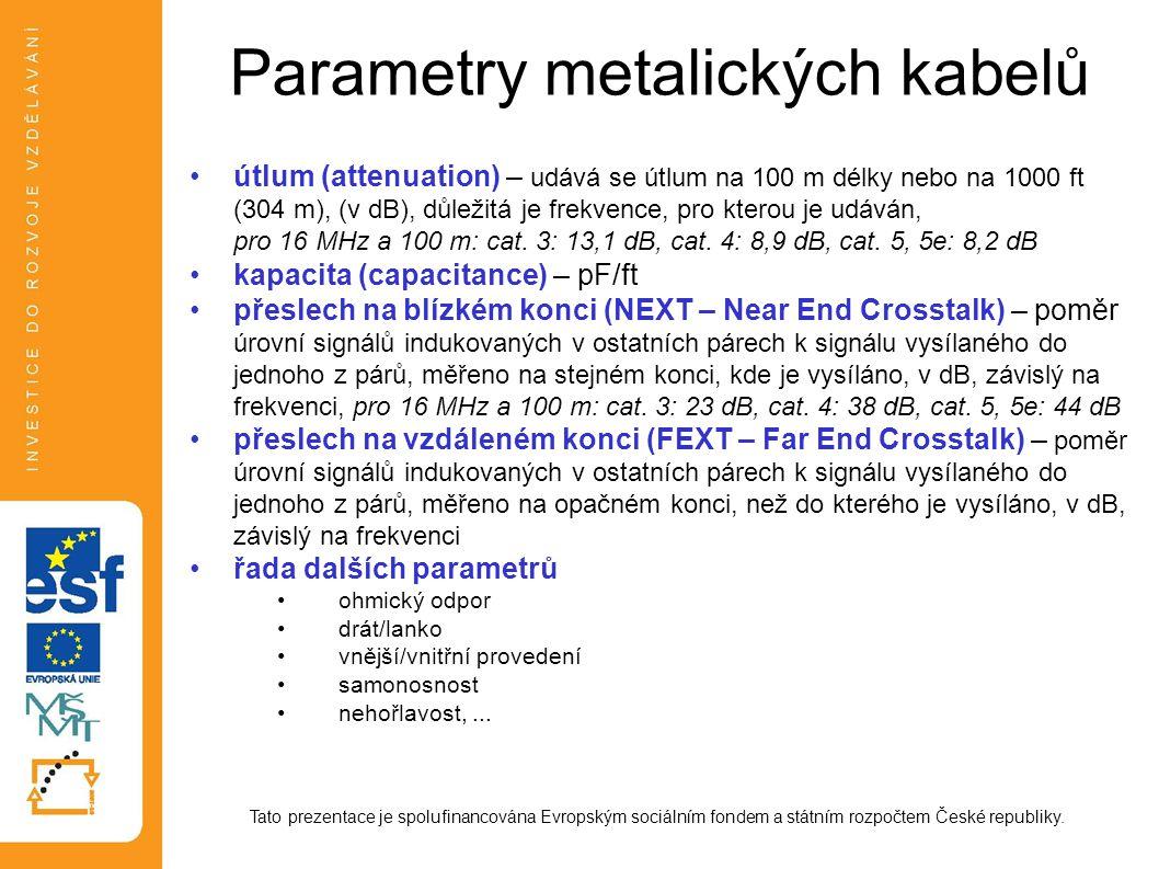 Parametry metalických kabelů útlum (attenuation) – udává se útlum na 100 m délky nebo na 1000 ft (304 m), (v dB), důležitá je frekvence, pro kterou je