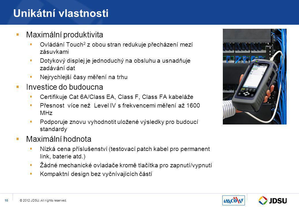 © 2012 JDSU. All rights reserved.10 Unikátní vlastnosti  Maximální produktivita  Ovládání Touch 2 z obou stran redukuje přecházení mezí zásuvkami 