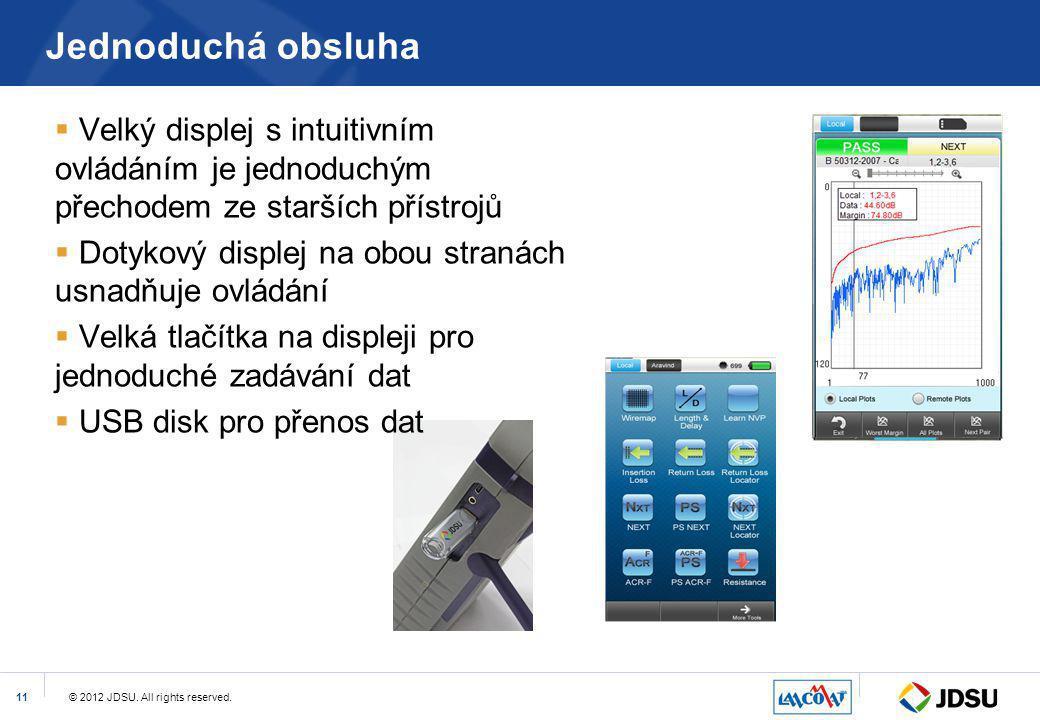 © 2012 JDSU. All rights reserved.11 Jednoduchá obsluha  Velký displej s intuitivním ovládáním je jednoduchým přechodem ze starších přístrojů  Dotyko