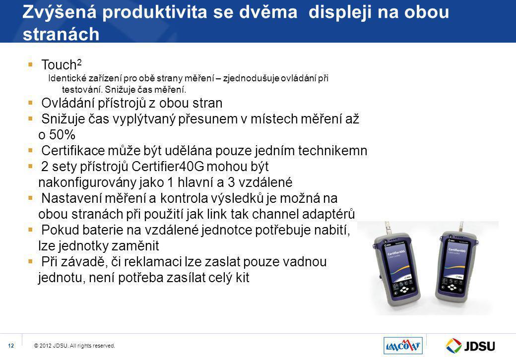 © 2012 JDSU. All rights reserved.12 Zvýšená produktivita se dvěma displeji na obou stranách  Touch 2 Identické zařízení pro obě strany měření – zjedn