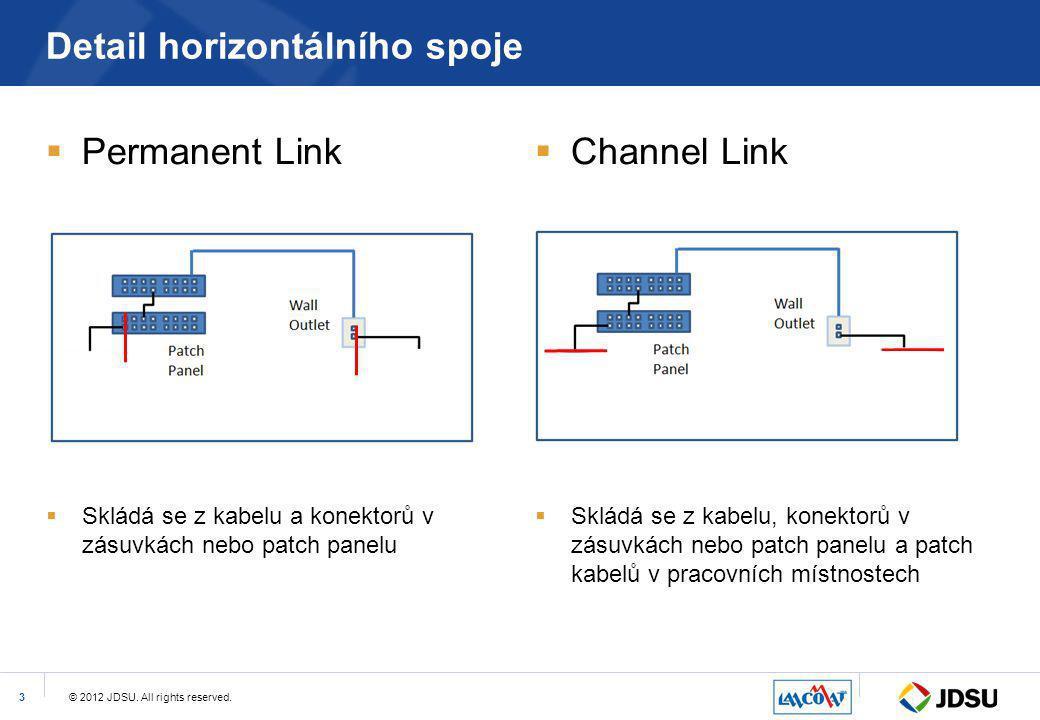 © 2012 JDSU. All rights reserved.3 Detail horizontálního spoje  Permanent Link  Skládá se z kabelu a konektorů v zásuvkách nebo patch panelu  Chann