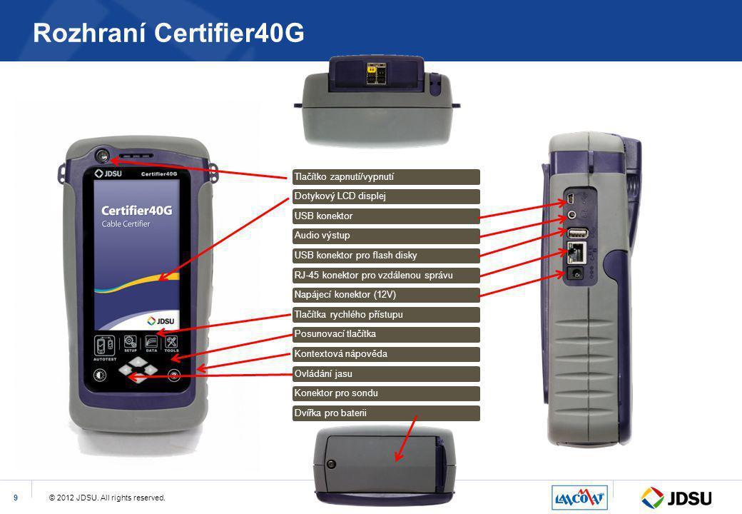 © 2012 JDSU. All rights reserved.9 Rozhraní Certifier40G Tlačítko zapnutí/vypnutíDotykový LCD displejUSB konektorAudio výstupUSB konektor pro flash di