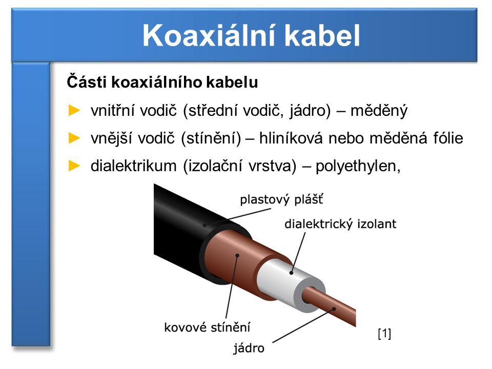 Základní vlastnosti koaxiálního kabelu ►charakteristická impedance ►75 Ω - použití v televizní technice ►50 Ω - použití v počítačových sítích ►měrný útlum ►vyjadřuje, kolikrát se zmenší výkon signálu po průchodu kabelem definované délky ►udává se v dB/m nebo v dB/100m Koaxiální kabel