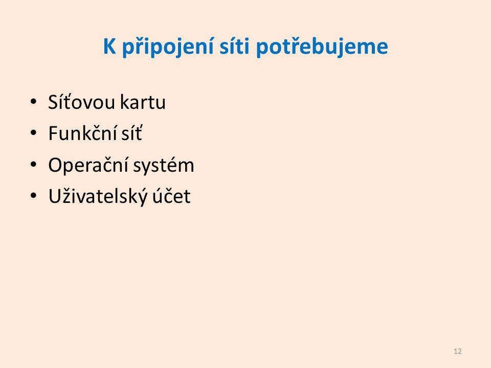 K připojení síti potřebujeme Síťovou kartu Funkční síť Operační systém Uživatelský účet 12