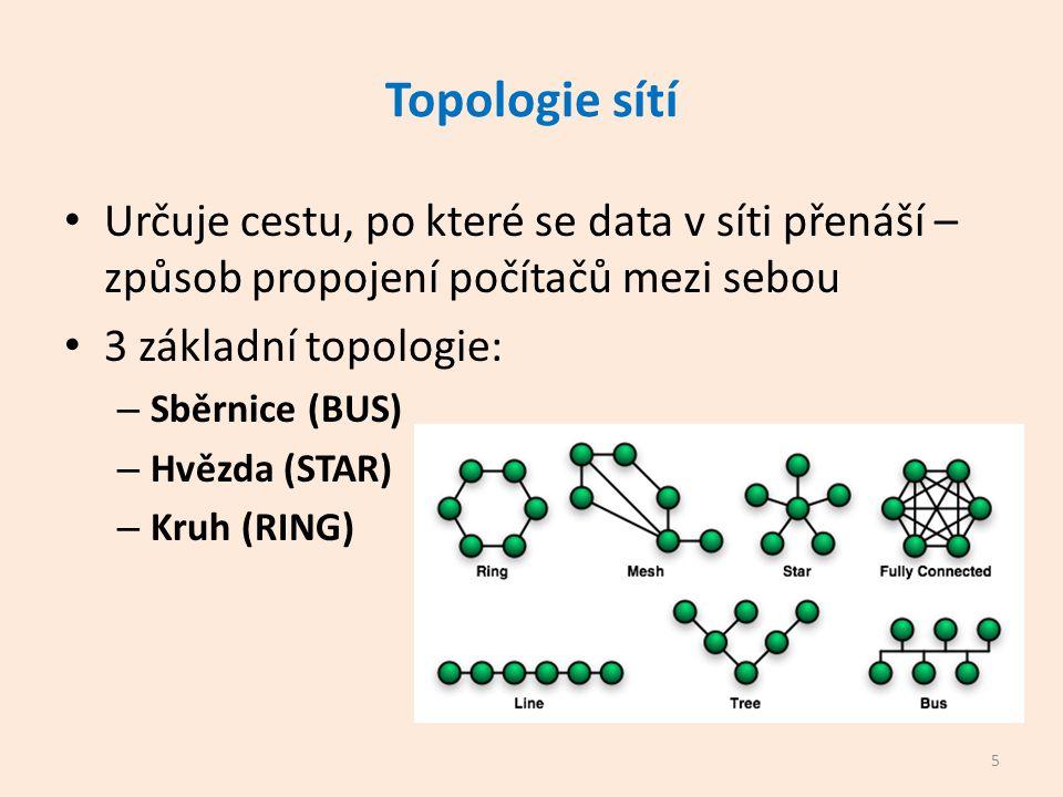 Topologie sítí Určuje cestu, po které se data v síti přenáší – způsob propojení počítačů mezi sebou 3 základní topologie: – Sběrnice (BUS) – Hvězda (STAR) – Kruh (RING) 5