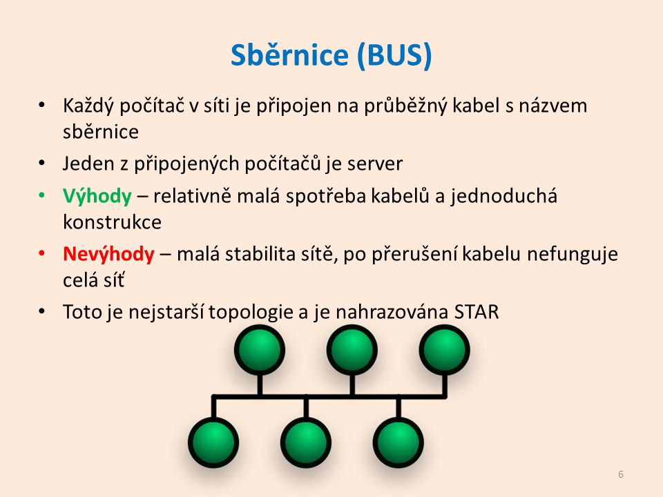 Hvězda (STAR) Stanice je připojena ke společnému uzlu, je to buď rozbočovač (HUB) nebo dnes přepínač (switch) Switch – aktivní prvek sítě, který propojuje všechny uzly mezi sebou a filtruje data Ke každému počítači vede samostatný kabel - UTP Výhodou je velká stabilita sítě Přerušení kabelu se týká pouze jedné větve Nevýhodou je pořizovací cena Dnes standard 7