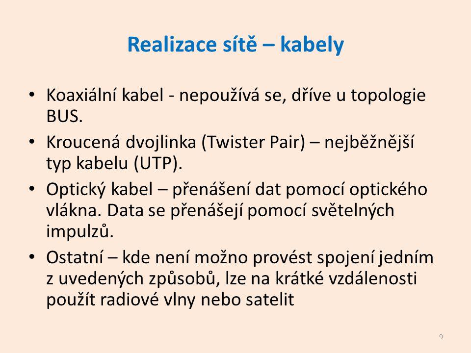 Realizace sítě – kabely Koaxiální kabel - nepoužívá se, dříve u topologie BUS.