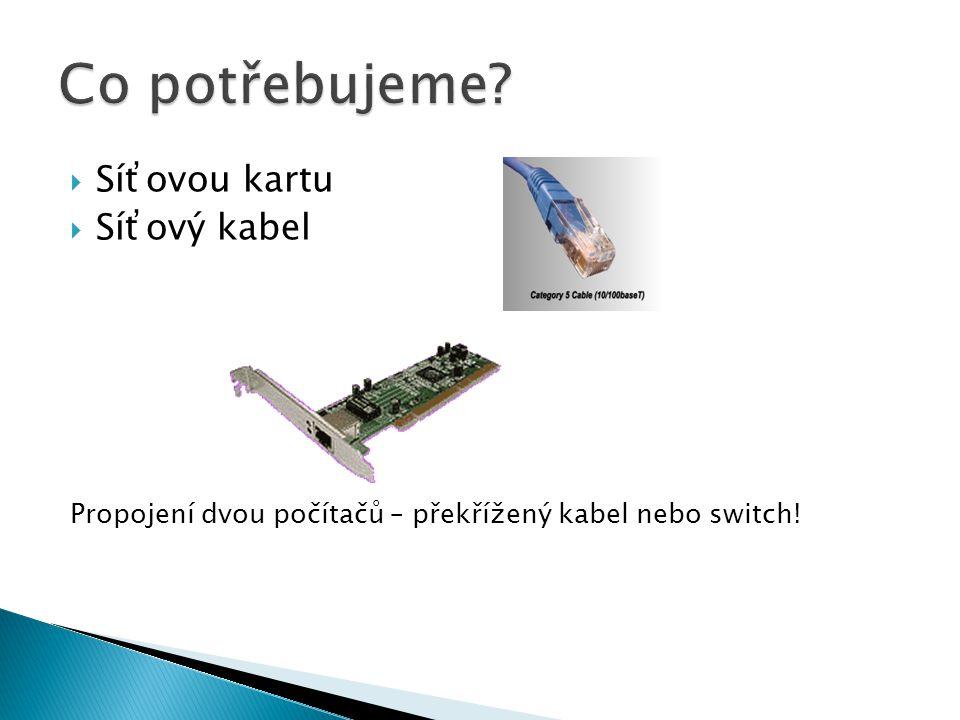 Síťovou kartu  Síťový kabel Propojení dvou počítačů – překřížený kabel nebo switch!