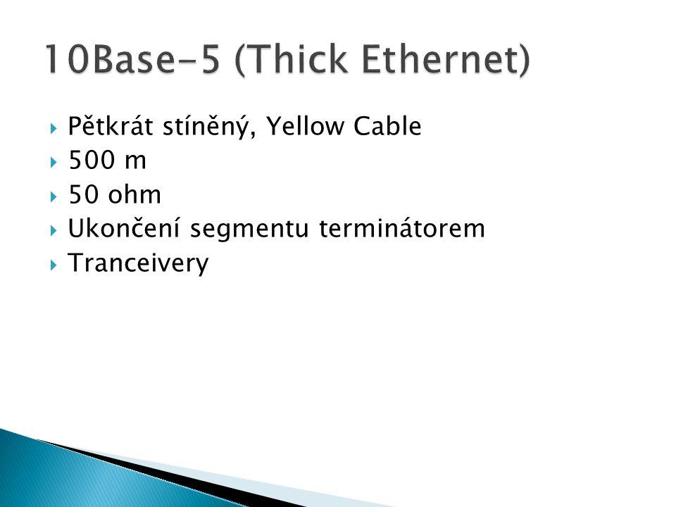  Pětkrát stíněný, Yellow Cable  500 m  50 ohm  Ukončení segmentu terminátorem  Tranceivery