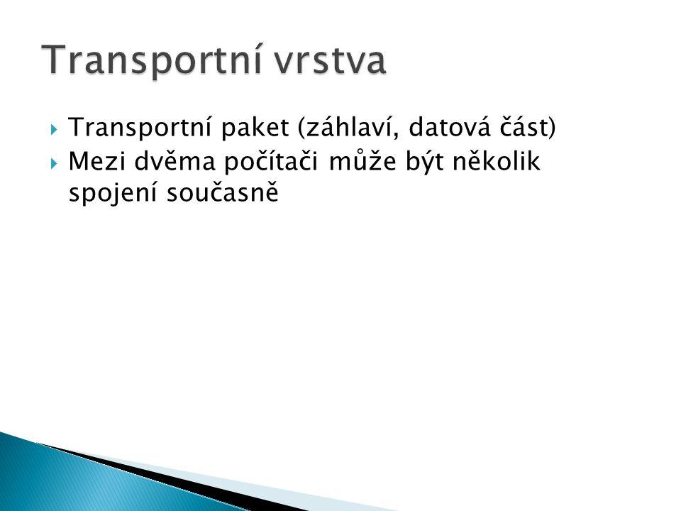  Transportní paket (záhlaví, datová část)  Mezi dvěma počítači může být několik spojení současně