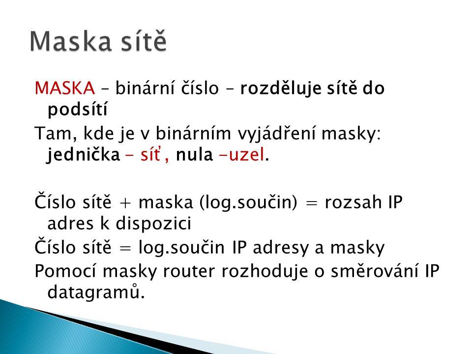MASKA – binární číslo – rozděluje sítě do podsítí Tam, kde je v binárním vyjádření masky: jednička - síť, nula -uzel. Číslo sítě + maska (log.součin)